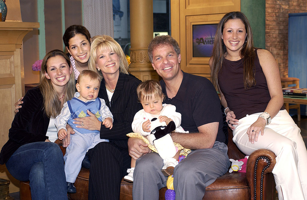 Joan Lunden with her family, from left: Lindsay Krauss, Sarah Krauss, Max Konigsberg, Joan Lunden, Kate Konigsberg, Lunden's husband Jeff Konigsberg, and Jamie Krauss. Lunden and Konigsberg's second set of twins was born in 2005.