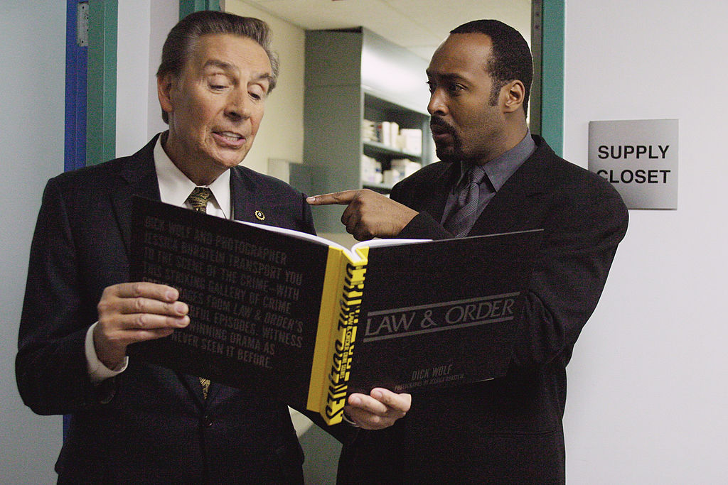Jerry Orbach and Jesse L. Martin on the set of 'Law & Order'