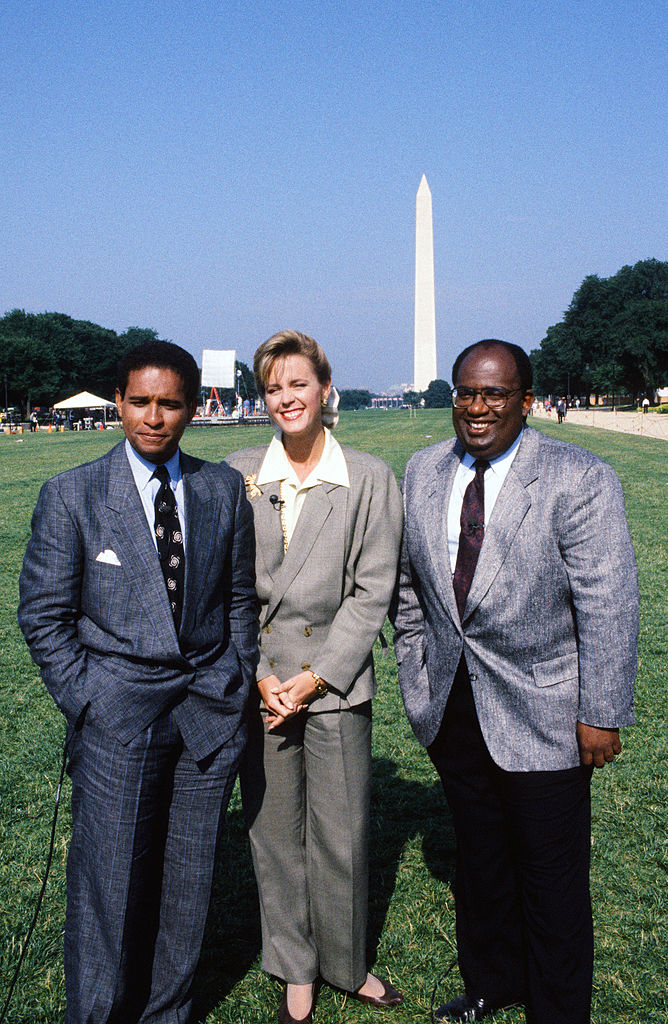 'Today' co-hosts Bryant Gumbel and Deborah Norville with weatherman Al Roker in 1990