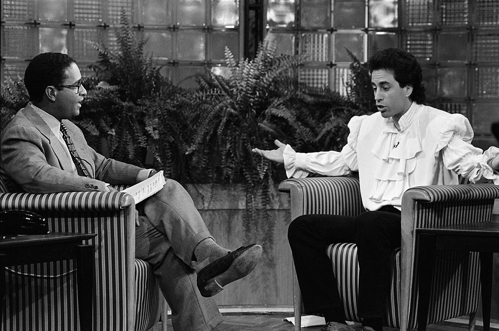 Jerry Seinfeld and Bryant Gumbel in a scene from 'Seinfeld'