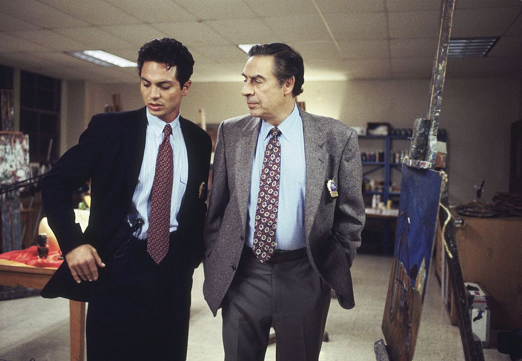 Jerry Orbach (right) with 'Law & Order' costar Benjamin Bratt