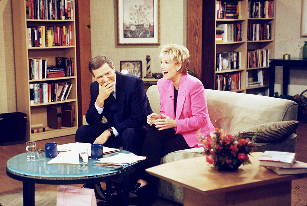 Charlie Gibson and Joan Lunden on the set of ABC's 'Good Morning America', 1997