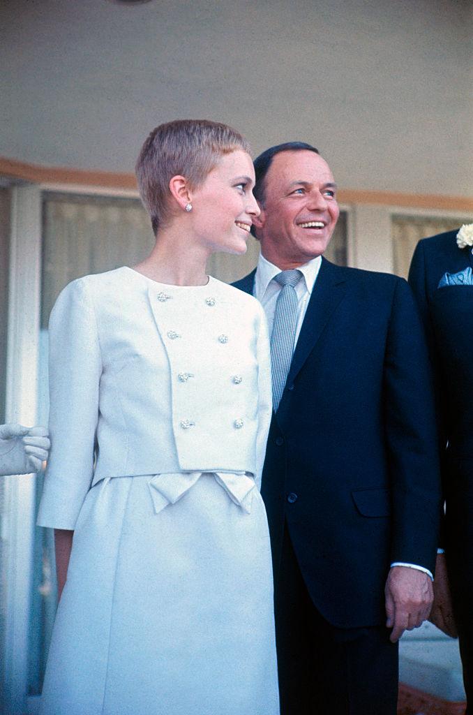 Mia Farrow and Frank Sinatra on the day of their 1966 wedding