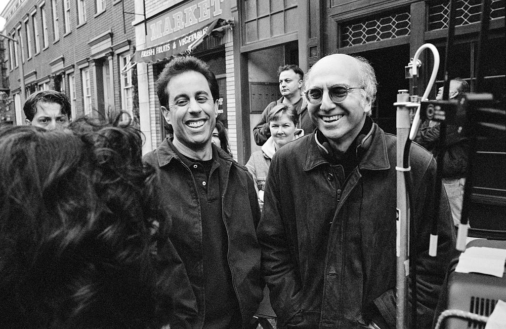 Jerry Seinfeld and Larry David on the set of 'Seinfeld', 1998