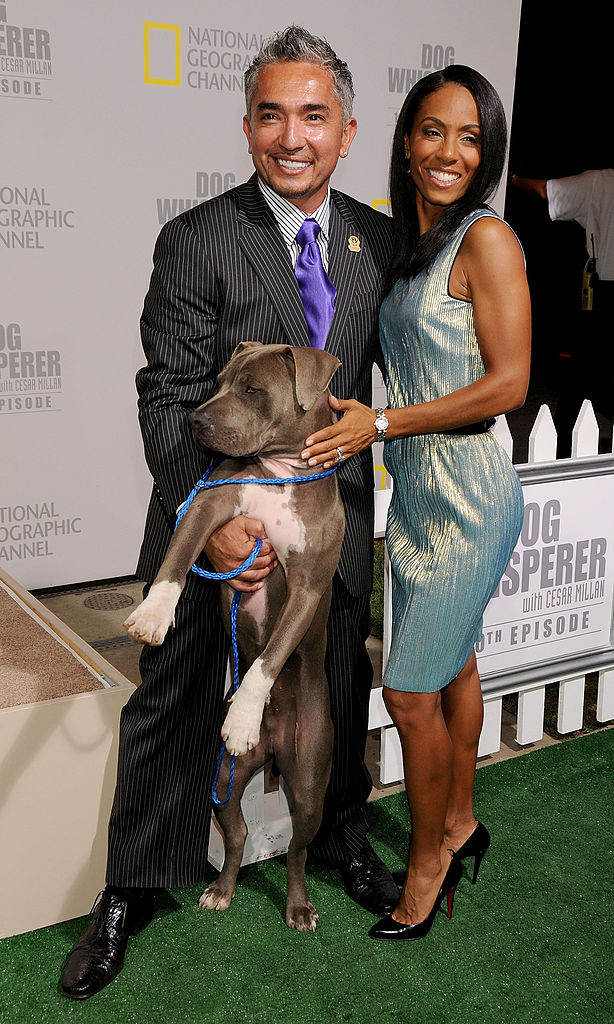 Jada Pinkett Smith and Cesar Millan at the celebration for the 100th episode of 'Dog Whisperer' in 2008