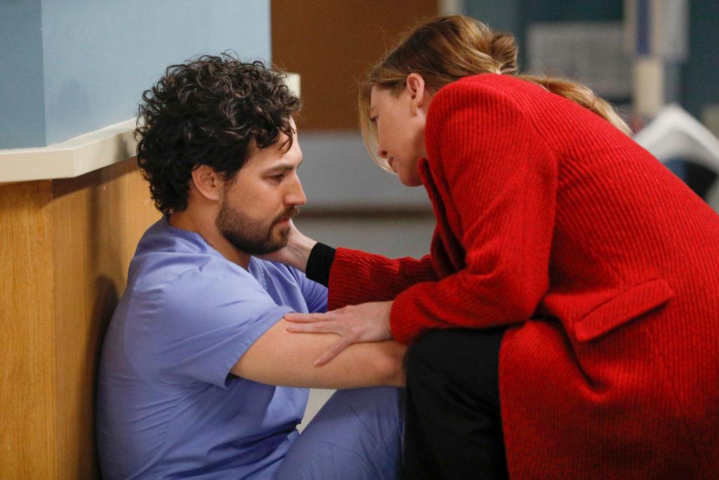 Giacomo Gianniotti as Andrew DeLuca and Ellen Pompeo as Meredith Grey on 'Grey's Anatomy' Season 16