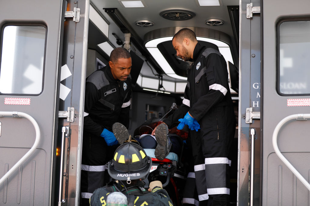Jason George as Ben Warren and Jesse Williams as Jackson Avery on 'Station 19'