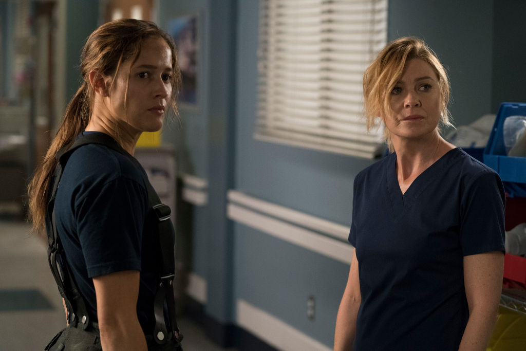 Jaina Lee Ortiz as Andy Herrera and Ellen Pompeo as Meredith Grey on the 'Grey's Anatomy' and 'Station 19' Crossover in 2017