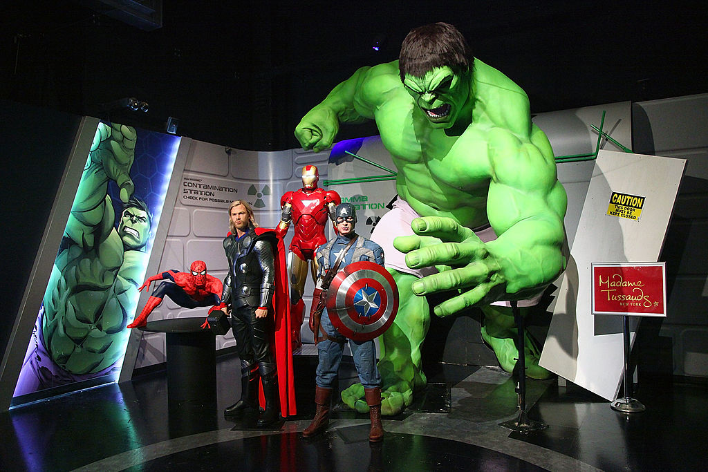Wax figures of Spider-Man, Thor as portrayed by actor Chris Hemsworth, Iron Man, Captain America as portrayed by actor Chris Evans and The Hulk