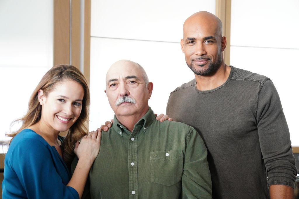 Jaina Lee Ortiz as Andy Herrera, Miguel Sandoval as Pruitt Herrera, and Boris Kodjoe as Robert Sullivan on 'Station 19' Season 3