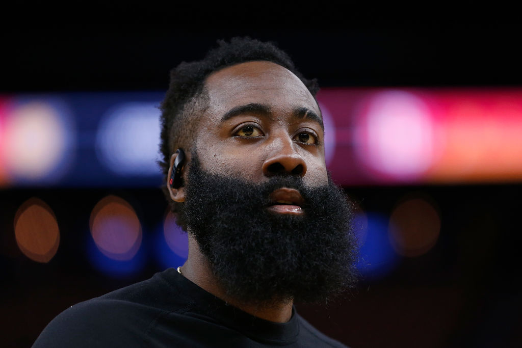 James Harden looking above the camera