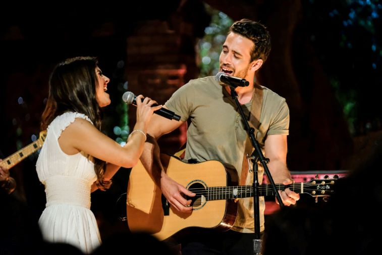 Jamie and Trevor singing together on 'The Bachelor Presents: Listen to Your Heart'