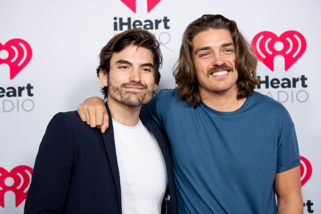Jared Haibon and Dean Unglert arrive at the 2020 iHeartRadio Podcast Awards at iHeartRadio Theater