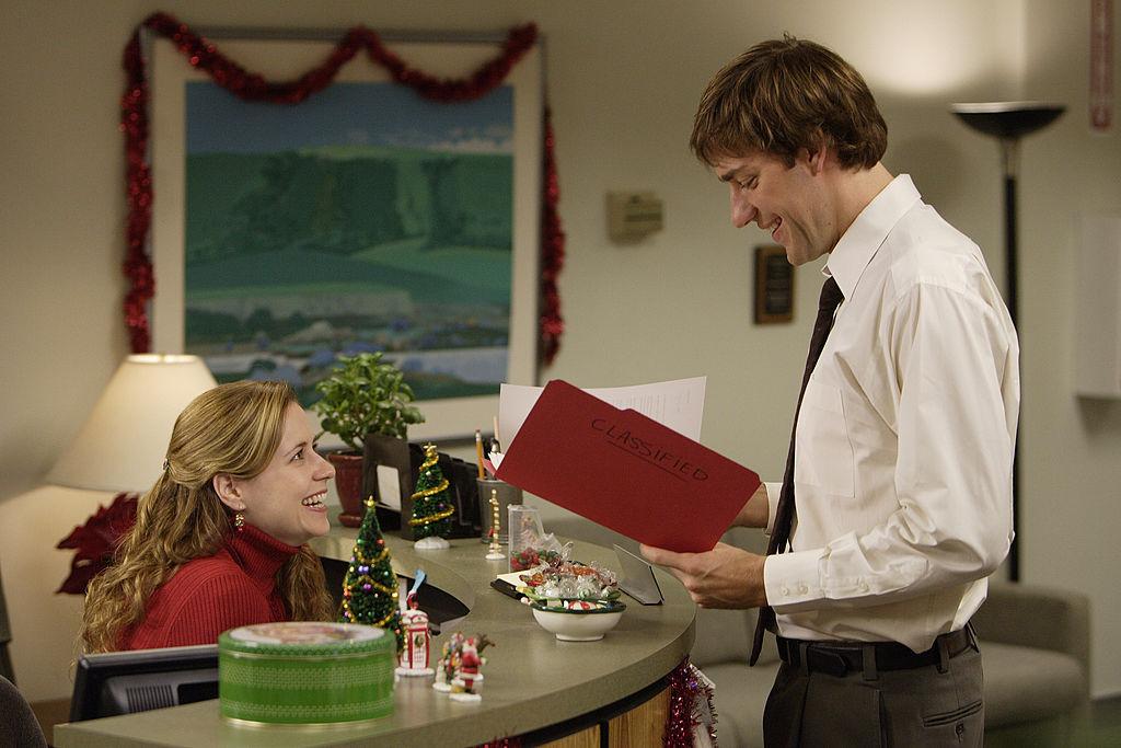 'The Office:' Jenna Fischer as Pam Beesly, John Krasinski as Jim Halpert