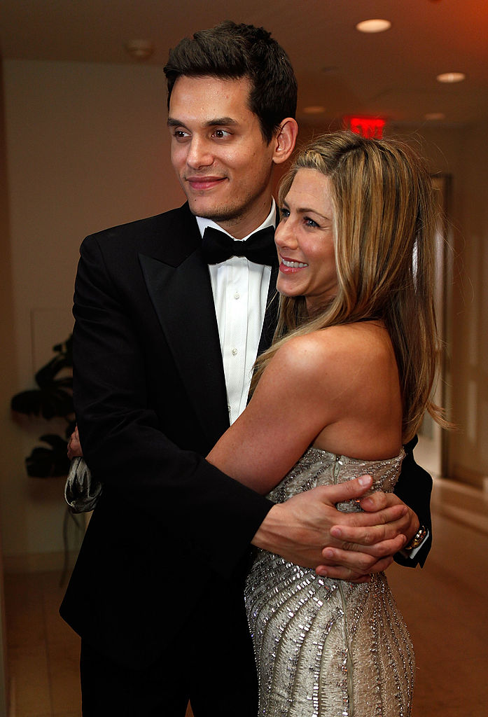 John Mayer and Jennifer Aniston attend the 2009 Vanity Fair Oscar party hosted by Graydon Carter at the Sunset Tower Hotel