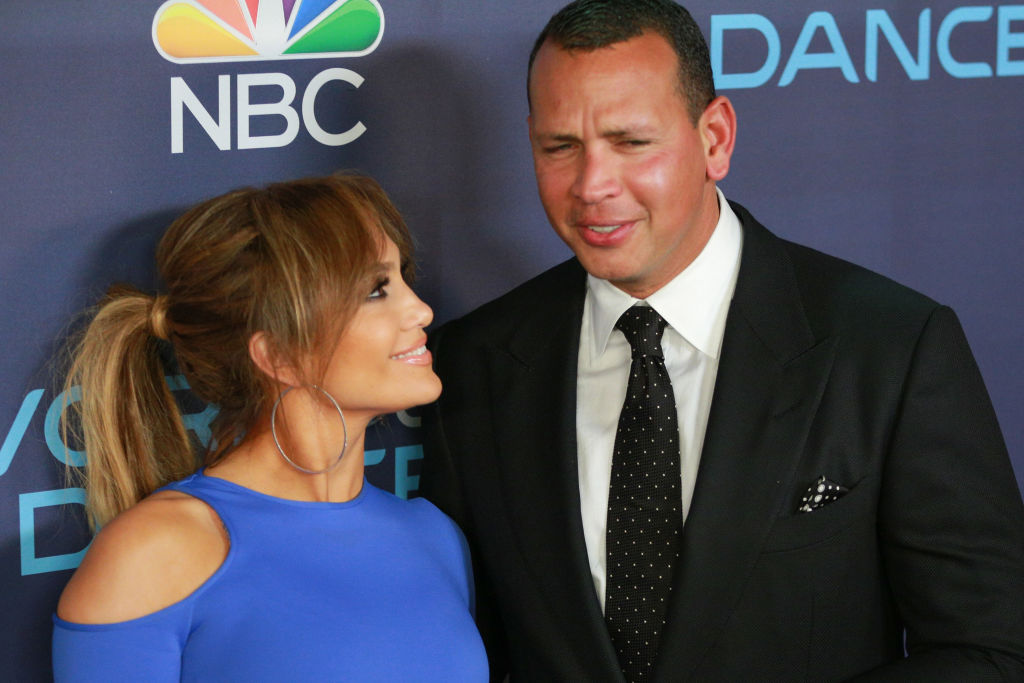 Jennifer Lopez and Alex Rodriguez on the red carpet at an event in September 2017