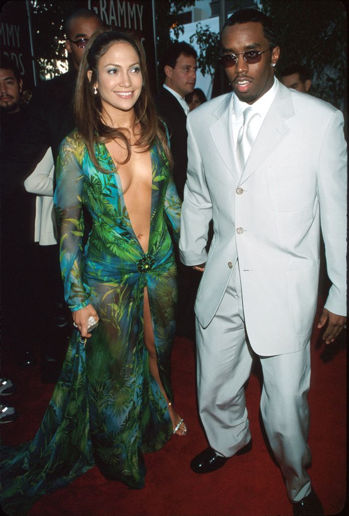 Jennifer Lopez in her Versace gown and Sean Combs