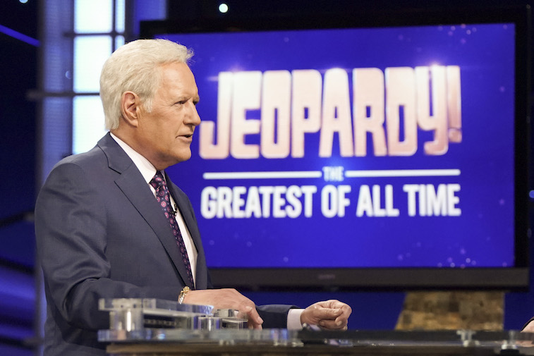 ALEX TREBEK hosts Jeopardy