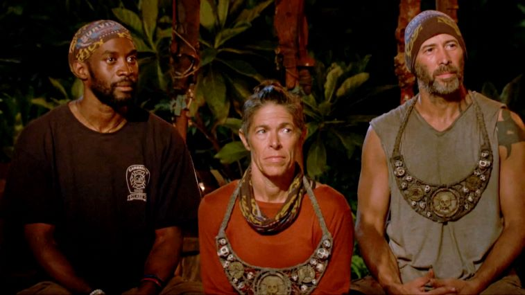 Jeremy Collins, Denise Stapley, and Tony Vlachos at Tribal Council on 'Survivor: Winners at War'
