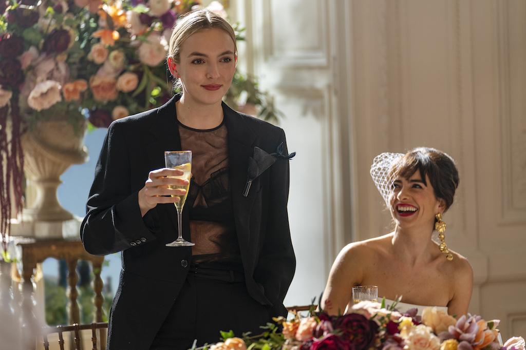 Jodie Comer (Villanelle) and Carmen Montero (Bride) of Killing Eve season 3 episode 1