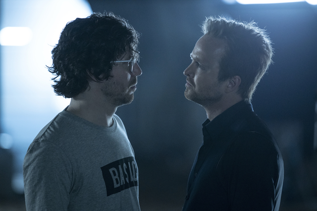 John Gallagher Jr and Aaron Paul on 'Westworld'