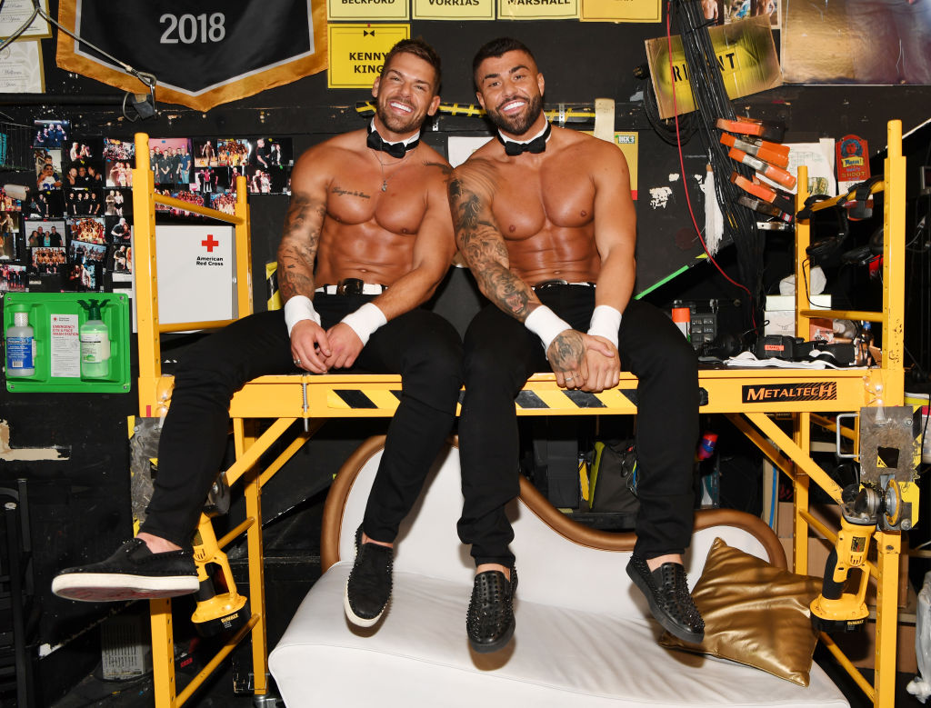 MTV's Joss Mooney and Rogan O'Connor backstage at Chippendales