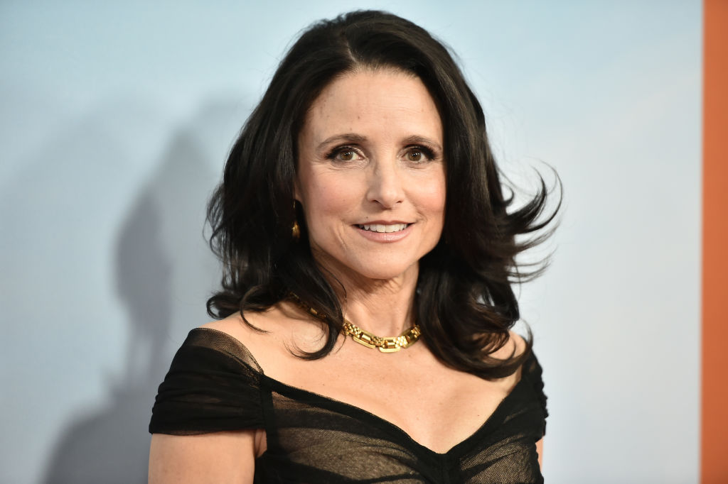Julia Louis-Dreyfus smiling, wearing black