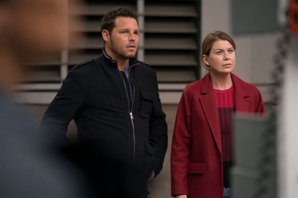 Justin Chambers as Alex Karev and Ellen Pompeo as Meredith Grey on 'Grey's Anatomy' - Season Fourteen