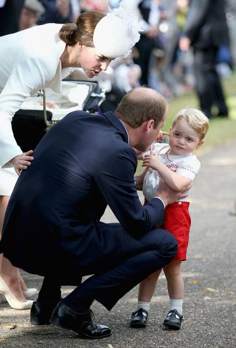 Kate Middleton, Prince William, and Prince George at the christening of Princess Charlotte