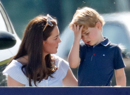 Kate Middleton and Prince George at a polo match, 2018
