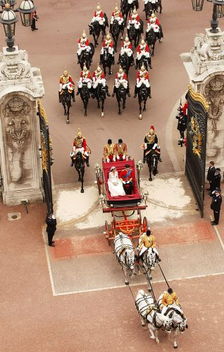 Kate Middleton and Prince William during carriage procession at royal wedding