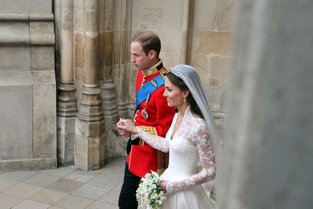 Kate Middleton and Prince William leaving West Minster Abbey following royal wedding