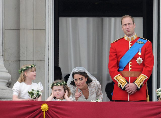 Kate Middleton and Prince William on Buckingham Palace balcony at their royal wedding