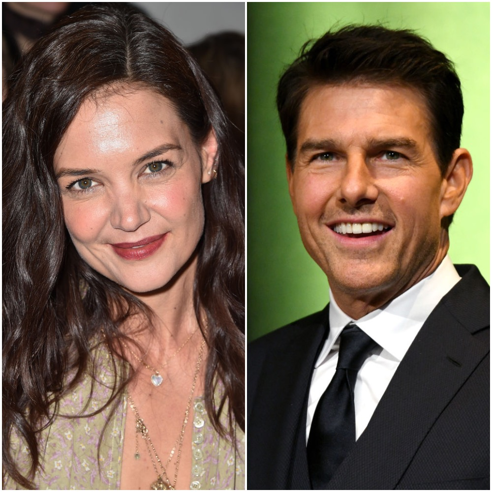 A photo collage of Katie Holmes and Tom Cruise