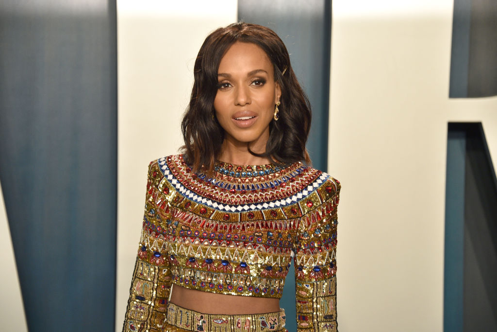 Kerry Washington smiling in a beaded dress