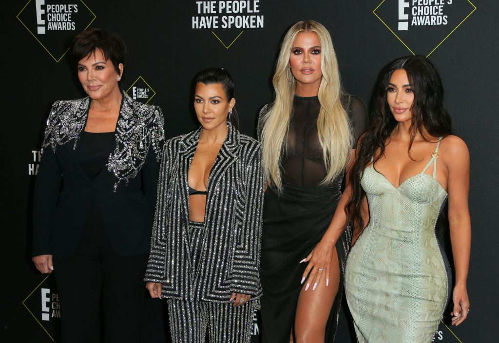Kris Jenner, Kourtney Kardashian, Khloé Kardashian, and Kim Kardashian arrive for the 45th annual E! People's Choice Awards