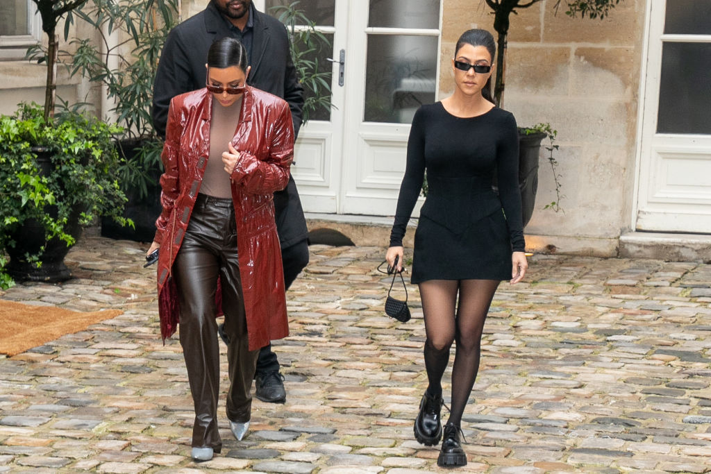 Kim Kardashian West and Kourtney Kardashian leave a pop-up fashion event on March 02, 2020 in Paris, France