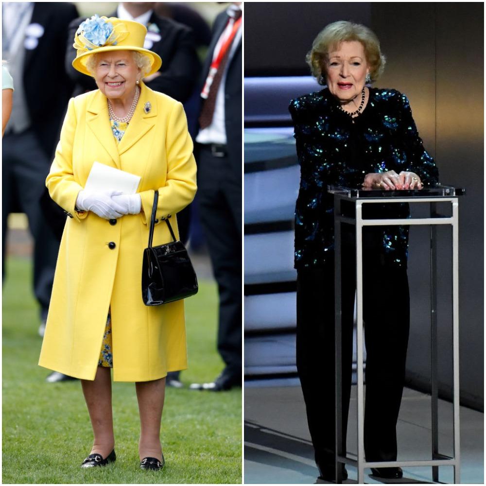 (L) Queen Elizabeth II, (R) Betty White