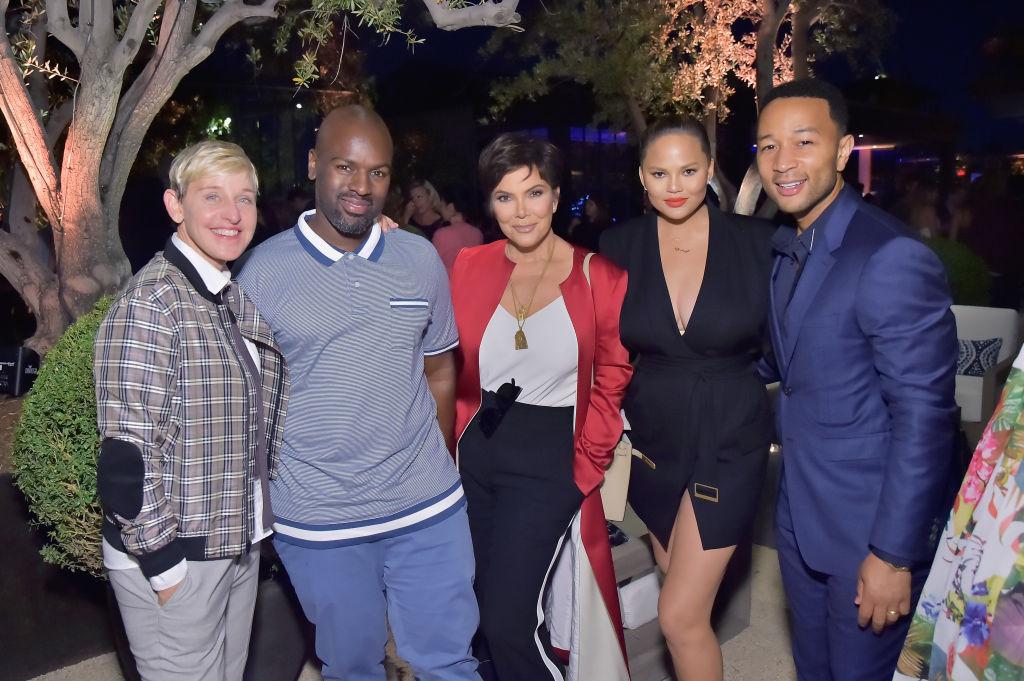 (L-R) Ellen DeGeneres, Corey Gamble, Kris Jenner, Chrissy Teigen and John Legend