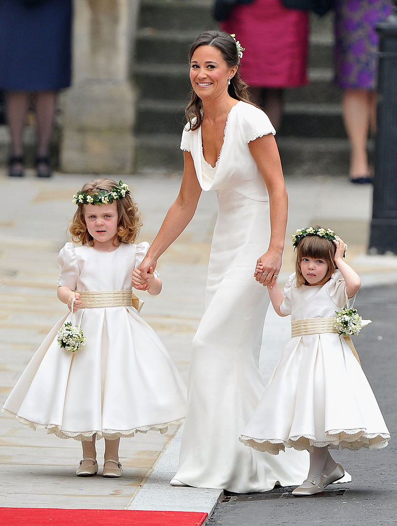 Maid of Honor Pippa Middleton with bridesmaids Grace Van Cutsem and Eliza Lopes