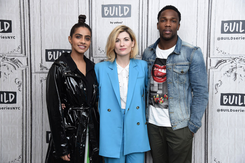 Mandip Gill, Jodie Whittaker, and Tosin Cole of Doctor Who season 13