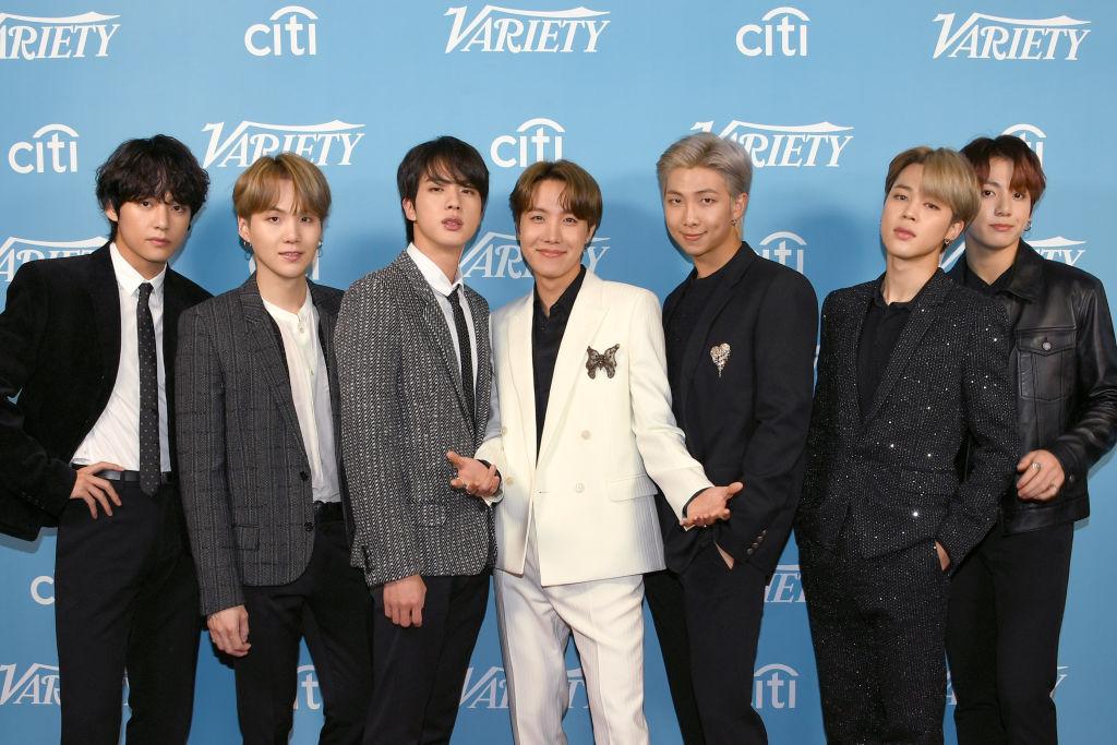 V, SUGA, Jin, J-Hope, RM, Jimin, and Jungkook of BTS