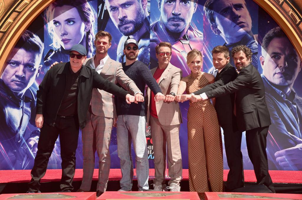 President of Marvel Studios/Producer Kevin Feige, Chris Hemsworth, Chris Evans, Robert Downey Jr., Scarlett Johansson, Jeremy Renner and Mark Ruffalo