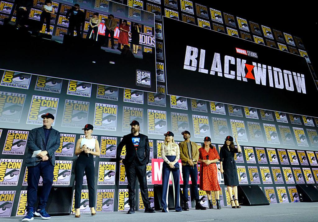 President of Marvel Studios Kevin Feige, Scarlett Johansson, David Harbour, Florence Pugh, O-T Fagbenle, Director Cate Shortland and Rachel Weisz of Marvel Studios' 'Black Widow'