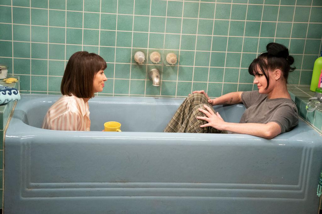 Natasha Leggero and Pauley Perrette in a scene from 'Broke.' | Sonja Flemming/CBS via Getty Images