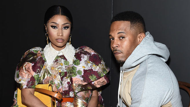 Nicki Minaj and Kenneth Petty at a fashion show in February 2020 in New York City