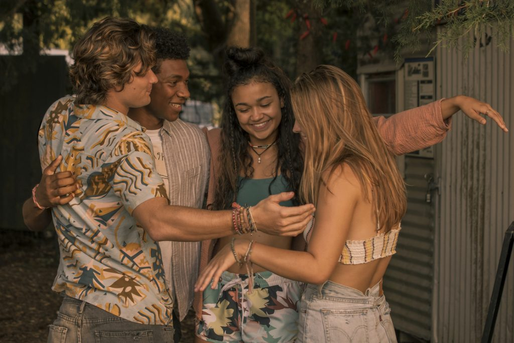 Chase Stokes, Madison Bailey, Jonathan Daviss, and Madelyn Cline in 'Outer Banks'