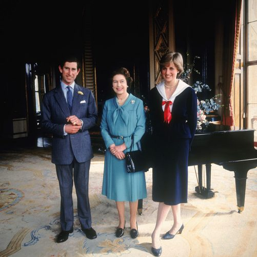 Prince Charles, Queen Elizabeth, and Princess Diana in 1981