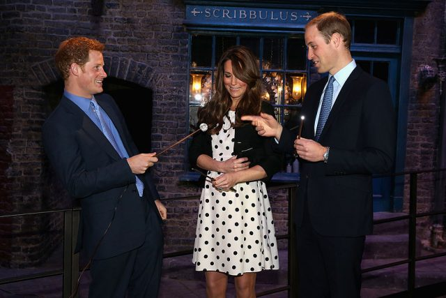 Prince Harry, Kate Middleton, and Prince William attend the inauguration of Warner Bros. Studios in London, England, on April 26, 2013