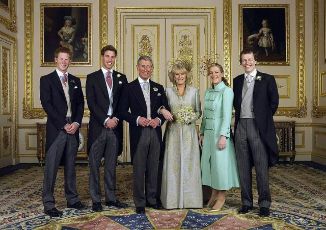 Prince Harry, Prince William, Prince Charles, Camilla Parker Bowles, Laura Lopes, and Tom Parker Bowles pose for wedding portraits on April 9, 2005